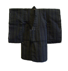 A Child's Cotton Kimono: Very Dark Woven Stripes