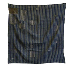 A Beautifully Patched Boro Furoshiki: Stripe on Stripe