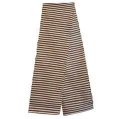A Length of Brown and White Striped  Stenciled  Cotton: Festival Cloth
