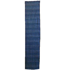 A Length of Indigo Dyed Striped Cotton: Weft Based Stripes