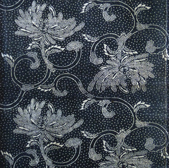 A Length of Fanciful Katazome Cloth: Chrysanthemums