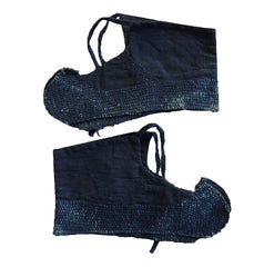 A Pair of Sashiko Stitched Foot Guards: Rustic Indigo Dyed Cotton
