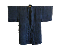 An Indigo Dyed Hand Plied Hemp or Ramie Jacket: Well-Worn