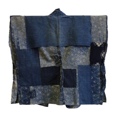 A Beautifully Mended Indigo Dyed Cotton Han Juban: Boro Lady's Undergarment