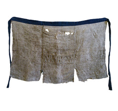 A Very Tattered and Worn Boro Okuso Cloth Apron: Woven Hemp Waste Fiber