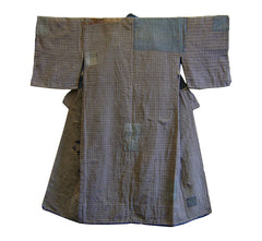 A Brown Checked Boro Kimono: Zanshi Patches