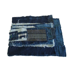 A Group of Old Hand Spun Cotton Fragments: Beautifully Indigo Dyed