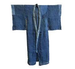A Hand Plied Hemp or Ramie Child's Boro Kimono: Indigo Dyed