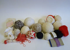 A Group of Partially Made Temari and Cotton Threads: All Stages of Making