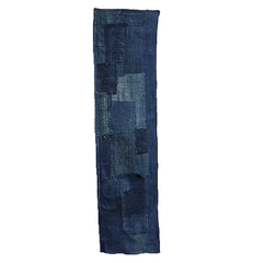 A Superb, Old Indigo Dyed Boro Panel: Hemp Stitching and Hand Spun Cotton