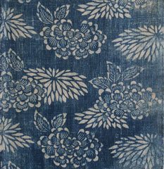 A Gorgeously Hand Spun Cotton Katazome Length: Peonies and Chrysanthemums