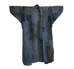 A Beautifully Patched Indigo Dyed Cotton Kimono: Hand Spun Threads
