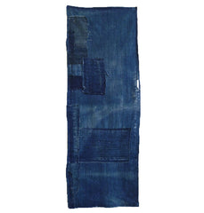 A Hand Spun Cotton Indigo Dyed Boro Fragment: Hemp Stitching