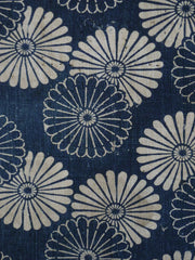 A Length of Katazome Dyed Cotton: Dark and Light Chrysanthemums