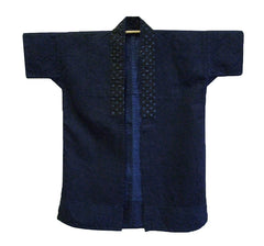 An Indigo Dyed Cotton Noragi: Katazome Dyed Collar