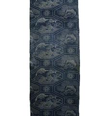 A Faded Length of Complex Katazome Cotton: Tortoise, Crane, Pine