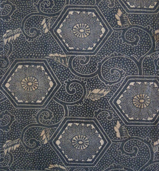 An Elaborately Katazome Dyed Cotton Panel: Tortoise Shell Pattern