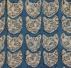 A Large Hand Block Printed Sarong: Cat Heads from People Tree