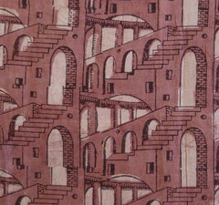 A People Tree Block Printed Cotton Sarong: Surreal Repeated Architectural Motif