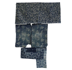 A Group of Five Katazome Pieces: Indigo Dyed Cotton