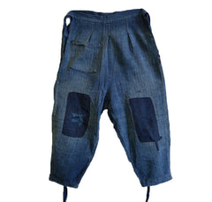 A Pair of Indigo Dyed Cotton Boro Tattsuke: Repaired Work Pants