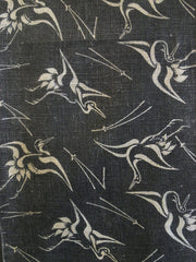 A Length of Reversible Katazome Cotton: Cranes and Pine