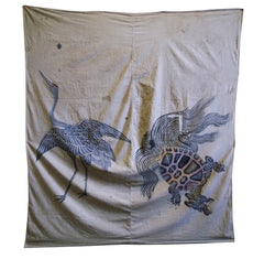 A Hand Painted Tsutsugaki Cotton Furoshiki: Crane and Tortoise