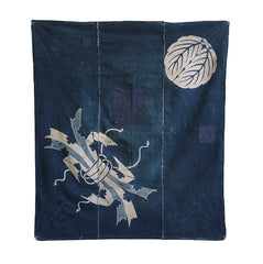 A Resist Dyed and Sashiko Stitched Furoshiki: Noshi and Family Crest