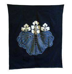 A Powerfully Graphic Large Tsutsugaki Furoshiki: Paulownia Crest
