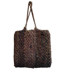 A Rustic Twined Cotton and Straw Bag: 1930s