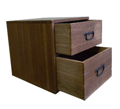 A Small Wooden Box: Two Drawers and Iron Pulls
