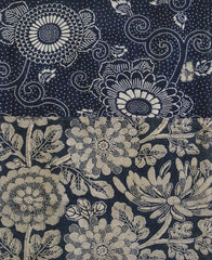 A Richly Patterned Light Toned Katazome Length: Floral Indigo Dyed Cotton