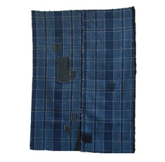 A Subtle and Patched Plaid Boro Cloth: Two Panels