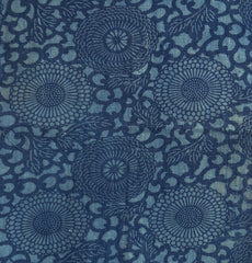 A Twice Dyed Katazome Panel: Patched Blue-on-Blue Chrysanthemums