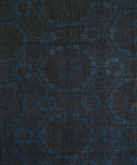 A Length of Stencil Dyed Indigo Cotton: Reddish Pattern