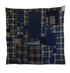 A Superbly Complex Boro Furoshiki: Plaid on Plaid on Stripe