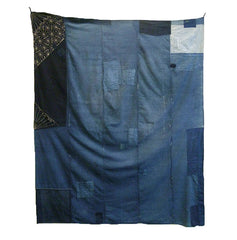 A Very Large Boro Cloth with a Prominent Sashiko Stitched Fragment: Indigo Dyed Cotton