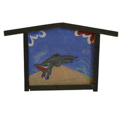 A Hand Painted Ko Ema Picturing a Boar: Votive Plaque