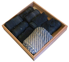 A Cypress Wood Box of Tatami Heri Pieces: Short Rolls of Used Hemp Cloth