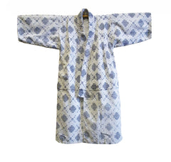 A Repaired Child's Kasuri Kimono: Blue on White