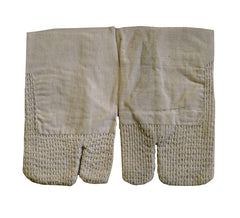 A Pair of Undyed Cotton Hand Protectors: Sashiko Stitching