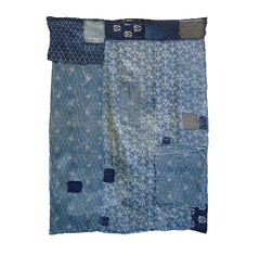 An Asagi or Pale Blue Katazome Boro Cloth: Beautiful Patterns