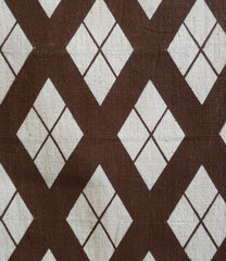 A Boldly Patterned Stencil Dyed Cotton Panel: Brown on White