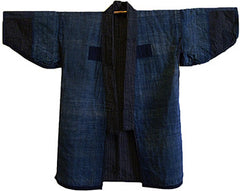 An Indigo Dyed Cotton Jacket: Sashiko Stitched and Gradient Blues