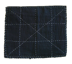 An Indigo Cotton Zokin: Grid and X