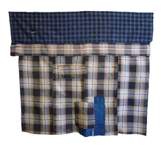 A Large Irregularly Shaped Cotton Boro Futon Cover: Plaids