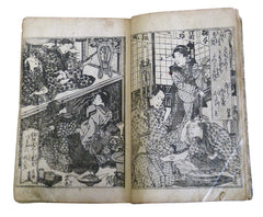 An Edo Period Illustrated Book: 7 Elaborate Wood Block Images