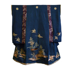 An Edo Period Child's Silk Kimono: Yuzen Dyed and Cut-Out Designs