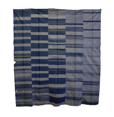 A Large, Five Panel Zanshi ori Futon Cover: Indigo Dyed Cotton