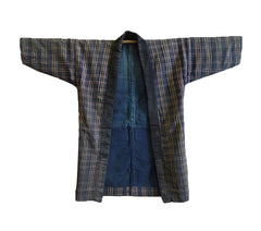 A Hand Loomed Plaid Cotton Jacket: Indigo Dyed Lining